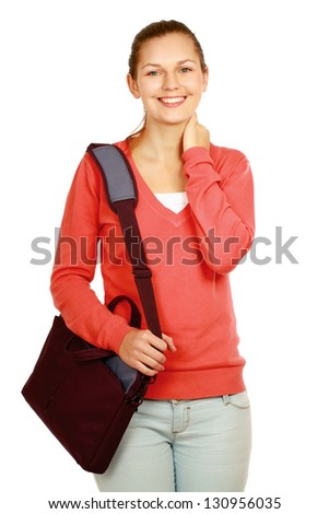 A woman with books and a bag, standing isolated on white background