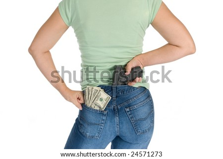 A woman with her cash and gun along with an attitude readies herself for protection - stock photo