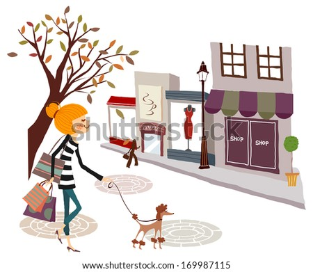 A woman with shopping bags walking her dog in the city. - stock photo