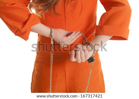 A womans back body taking of handcuffs. - stock photo