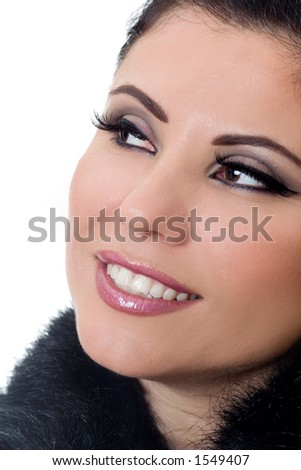 A womans face with makeup