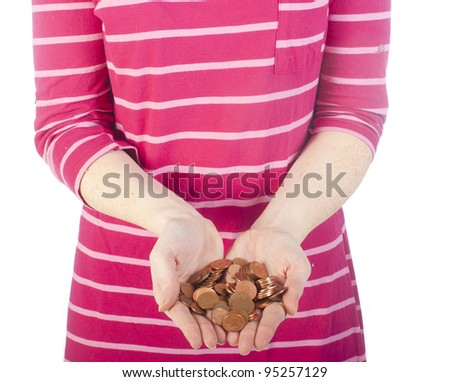 a women in nightdress with some coins in her hand - stock photo