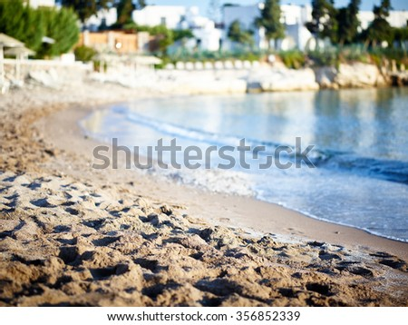 A wonderful morning next the the sandy beach - stock photo