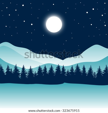 A wonderful night in the blue mountains. Mountains, coniferous forest, sky, moon, stars. Abstract background. Full moon over glacier, iceberg. Night in the Arctic.