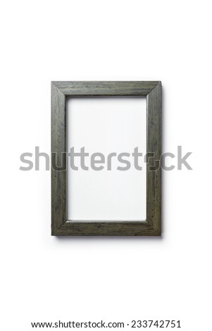 A wood photo(picture) frame isolated white, top view at the studio.