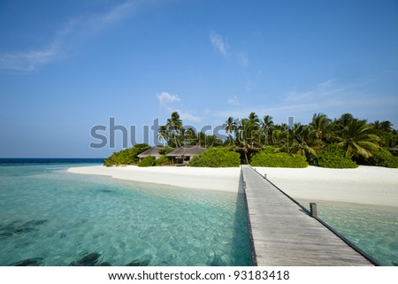 A wood pontoon access to paradise beach of a tropical island