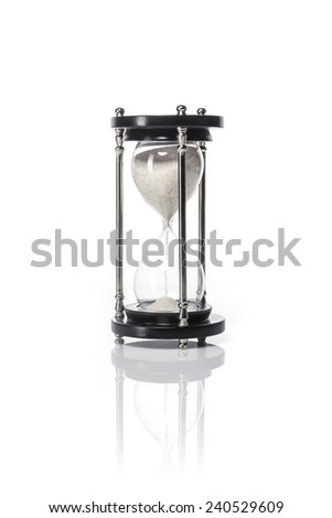 A wood vintage sand timer isolated white at the studio.
