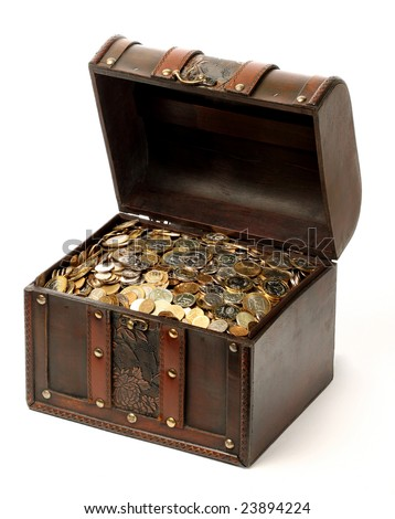 A wooden ancient chest full of money