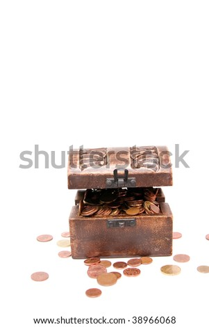 A wooden ancient chest full of money - stock photo