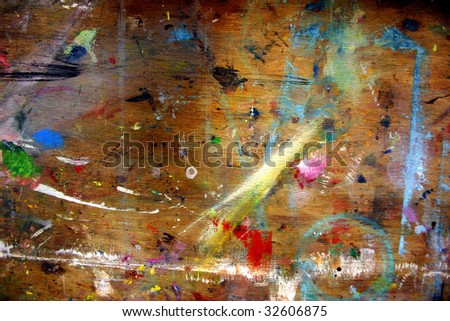 a wooden background with paint drops