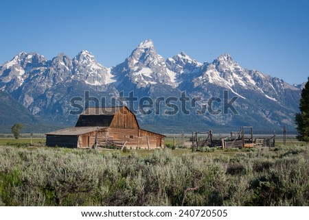 A wooden Barn at Grand Tetons National Park in Wyoming, US - stock photo