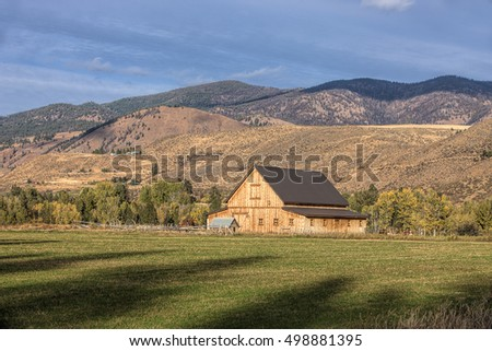 A wooden barn in the field near Winthrop, Washington.
