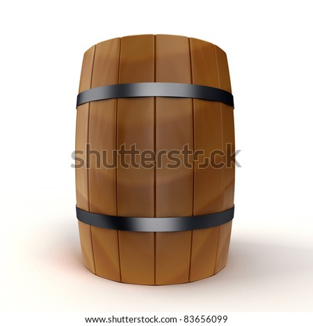 A wooden barrel is isolated on a white background - stock photo