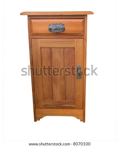 A Wooden Bedside Cabinet - stock photo