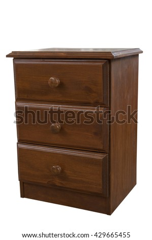 A wooden bedside cabinet isolated on a white background - stock photo