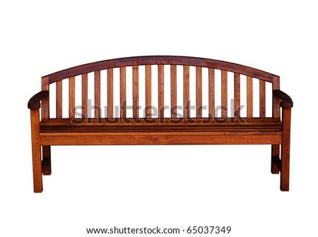 a wooden bench on white - stock photo