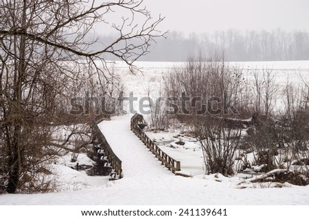 A wooden bridge during the snow at Monmouth Battlefield State Park in New Jersey. - stock photo