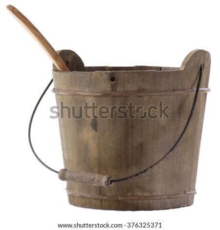 A wooden bucket exempted important accessory for sauna