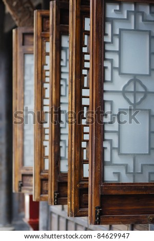 a wooden cabin window - stock photo