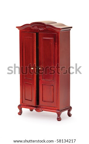 A wooden cabinet with a white background - stock photo