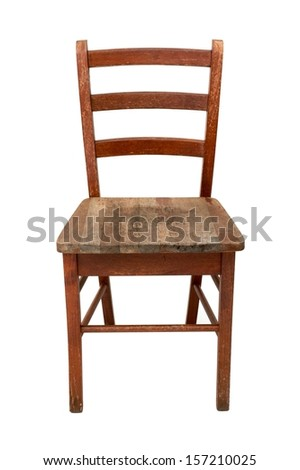 A wooden chair isolated against a white background - stock photo