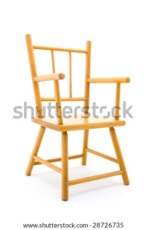 A Wooden Child Chair On A White Background
