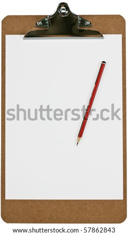 A wooden clipboard holding a blank piece of paper and a sharp pencil. Isolated over white with clipping path. - stock photo