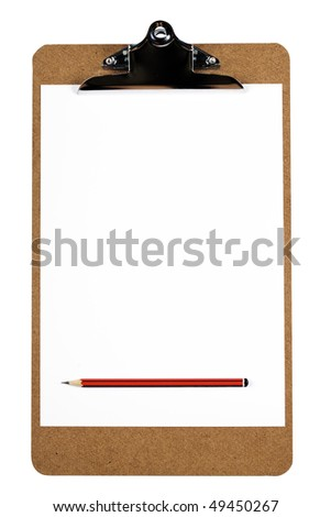 A wooden clipboard holding a blank piece of paper and a sharp pencil (with clipping path)
