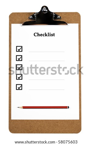 A wooden clipboard holding a ticked checklist and a sharp pencil (with clipping path) - stock photo
