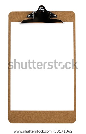 A wooden clipboard with a blank piece of paper  (with clipping path)