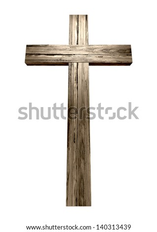 A wooden cross on an isolated background - stock photo