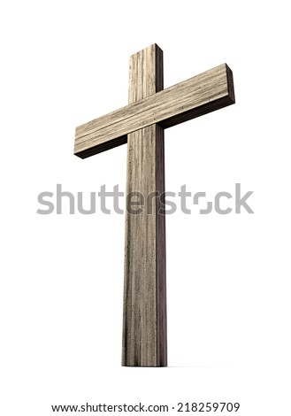 A wooden crucifix or cross made of thick lumber on an isolated background - stock photo