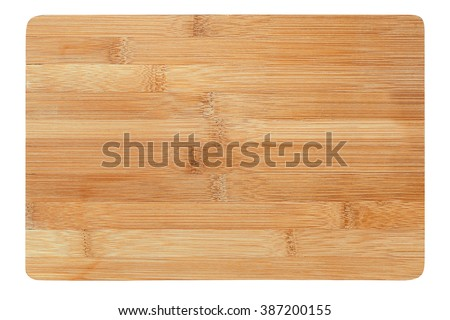 a wooden cutting board on a white background - stock photo