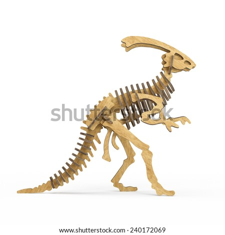 A wooden Dinosaur skeleton isolated on a white background - stock photo