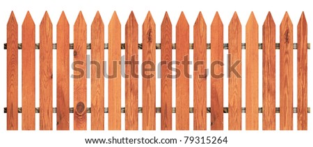 a wooden fence isolated on white including clipping path - stock photo