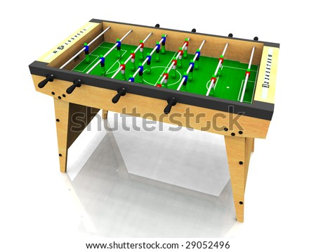 A wooden foosball table on white background. - stock photo
