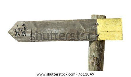 A wooden footpath sign isolated on white - stock photo