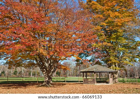 A wooden Gazebo in a park with surrounding trees showing fall foliage. Photo was taken in historic Allaire Park in New Jersey, USA. - stock photo