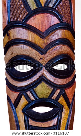 A Wooden Hand-Carved African Mask - stock photo