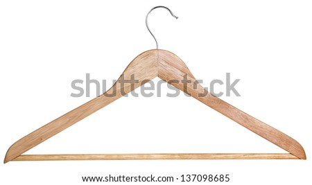A wooden hanger isolated on white. Cl.path included