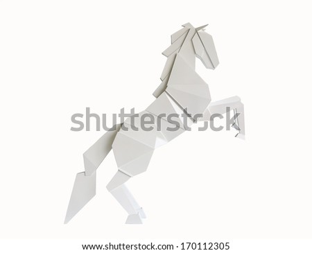 A wooden horse isolated on white background - stock photo
