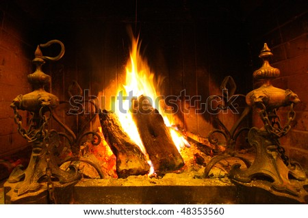 A Wooden Indoor Fire - stock photo