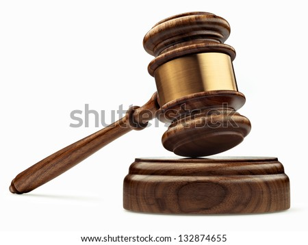 A wooden judge gavel and soundboard isolated on white background in perspective - stock photo