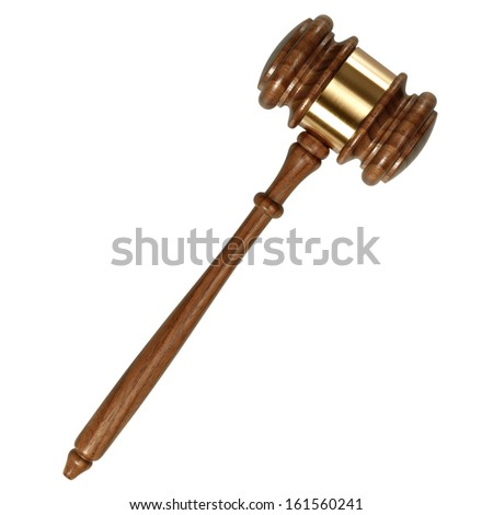 A wooden judge gavel isolated on white background  - stock photo