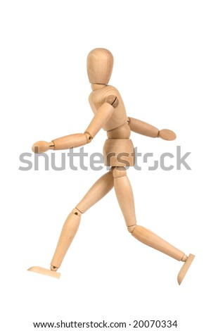 A wooden mannequin walking