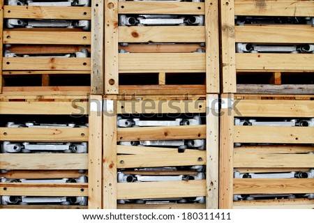 A wooden pallets in warehouse - stock photo