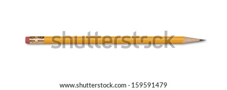 A wooden pencil with an eraser, isolated on white with clipping path.  - stock photo