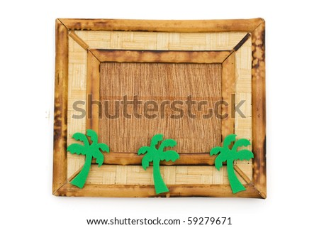a wooden picture frame isolated on a white background frame for vacation