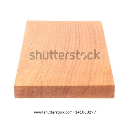 A wooden plank close-up is located on the white background