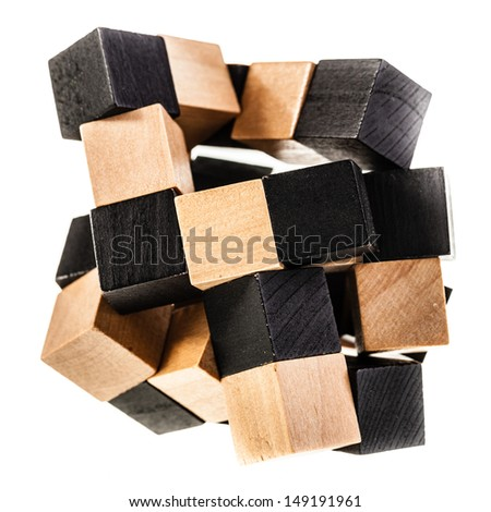 a wooden puzzle isolated over a white background - stock photo